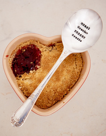 "Dried Dessert Spoon ""Merci, Gracias, Thanks, Danke, Grazie"""