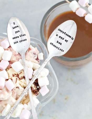 "Shredded latte spoon ""I love you more than ice cream"""
