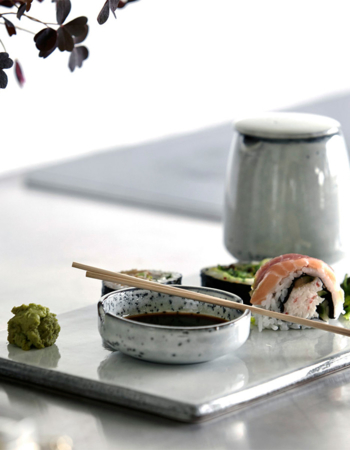 Sushi plate stoneware rustic
