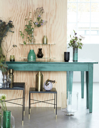 Mango wood table Musk green 200 x 45