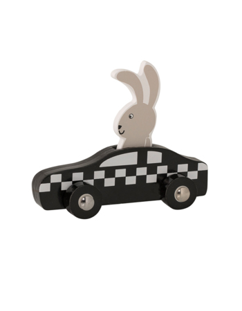 Rabbit Driving a Wooden Toy Car