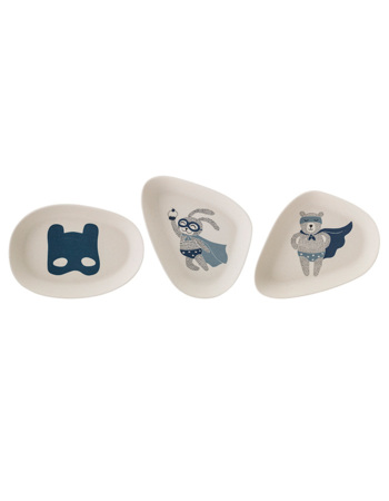 Blue Superhero Bamboo Plate Set