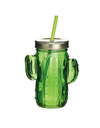 BarCraft Cactus Green Drinking Glass Jar with Straw