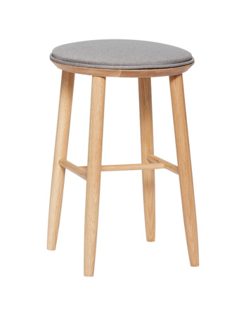 Wooden Bar Stool w/ Grey Cushion