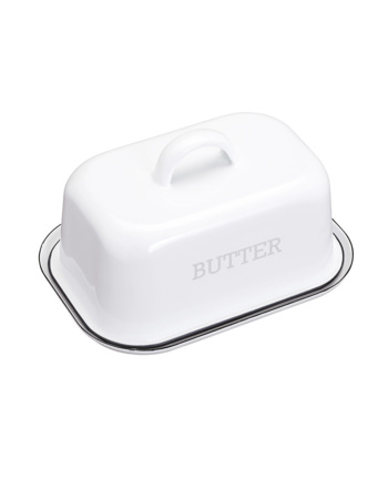 Living Nostalgia Vintage-Style Enamel Butter Dish with Lid