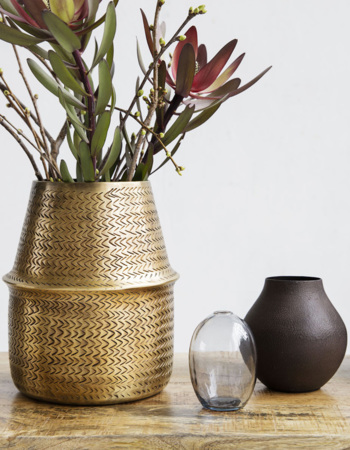 Planter, Rattan, Brass finish