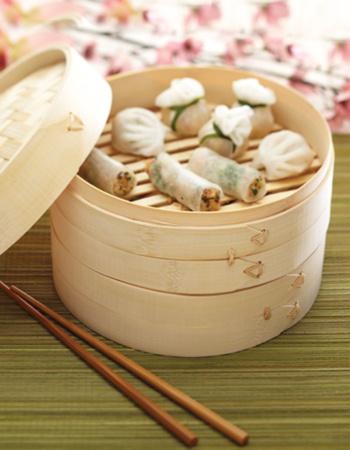 Two Tier Bamboo Steamer and Lid