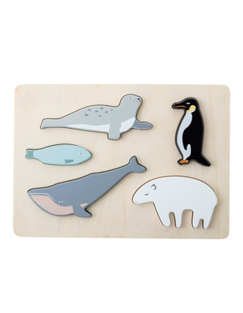 Puzzle, Multi-color, Plywood - Water Animals