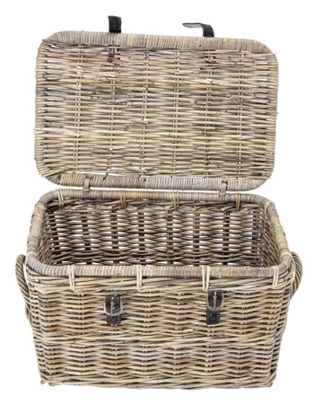 Basket w/Lid, Grey, Rattan / small