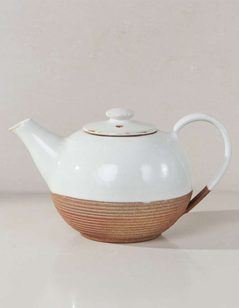 Mali Ribbed Teapot - White