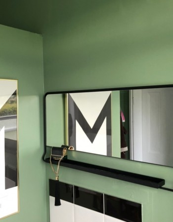 Mirror w/ shelf, Chic, Black  80x40 cm