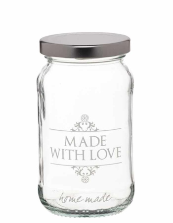 "Home Made Glass Jar titled ""Made with Love"""