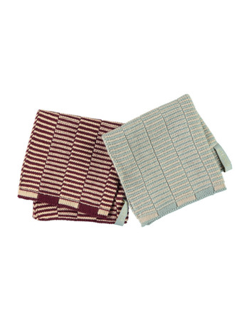 Stringa Dishcloth - Aubergine / Rose - Pale Blue/ Camel