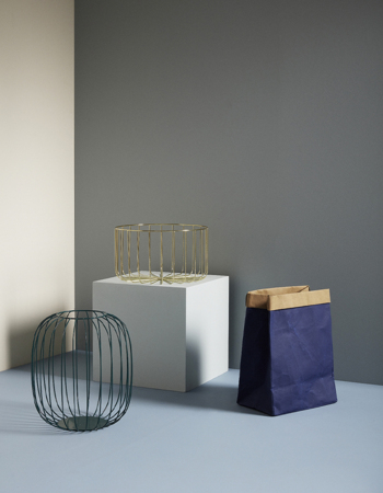 Laundry basket blue/beige