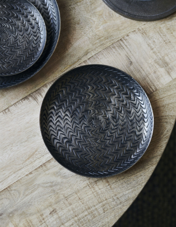 Tray Rattan Brushed black finish