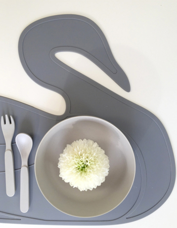 Placemat Swan Grey