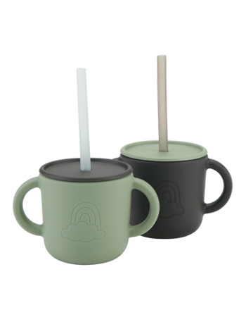 Kids sillicon cups with lid Forest 2 pcs
