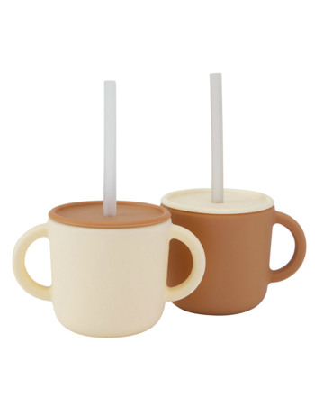 Kids sillicon cups with lid Cream 2 pcs