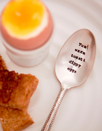 "Raspberry Teaspoon ""Yum! warm toast & dippy eggs """