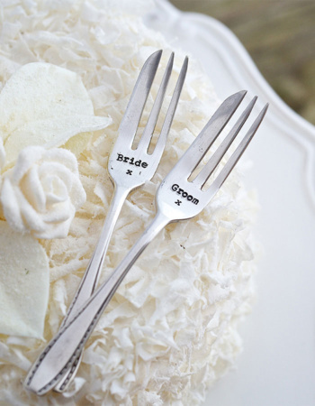 "Dried Dessert Forks Set ""Bride & Groom"""