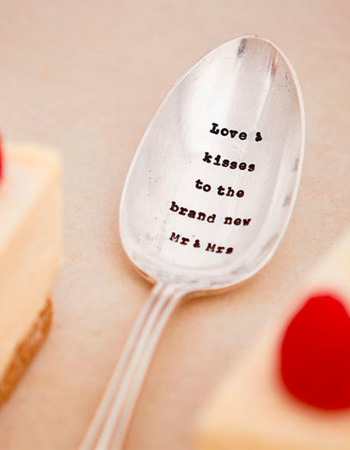 "Chopped Serving Spoon ""Love & kisses to the brand new Mr & Mrs"""