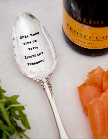 "Chopped Serving Spoon ""This home runs on love, laughter & Prosecco"""